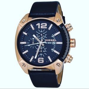 DIESEL OVERFLOW CHRONOGRAPH BLACK LEATHER WATCH